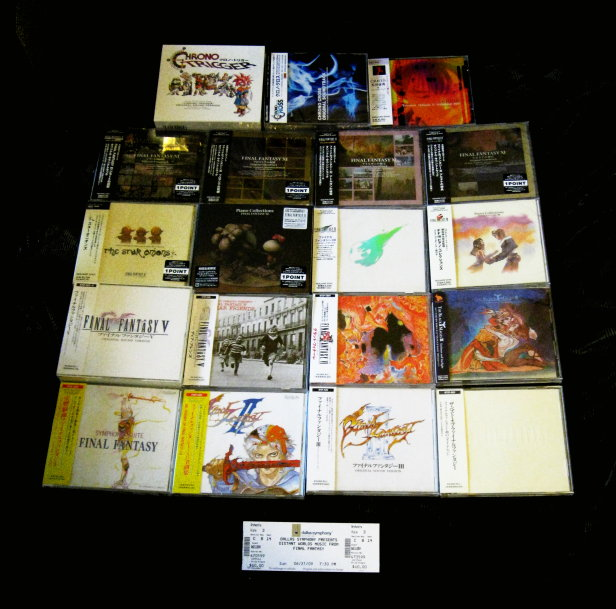 19 game music CDs and a ticket to Distant Worlds: Music from Final Fantasy in Dallas